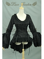 Gothic Swallow-Tail Ruched Jabot Jacket Steampunk Clothing by Lace Garden