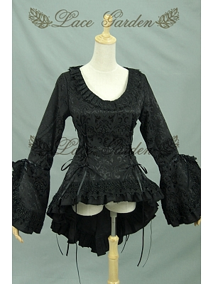 Custom Size Available Gothic Swallow-Tail Ruched Jabot Jacket Steampunk Clothing by Lace Garden