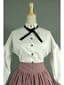 Retro High  Waist  Lattice  Skirt and Lantern Sleeves Decorated Blouse by Lace Garden