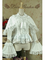 Lolita Vintage Princess Lace Shawl Trumpet Sleeves Flounce Blouse by Lace Garden