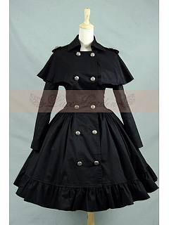 Vintage Gothic Lolita Shawl Double-Breasted Trench Coat Dress by Lace Garden