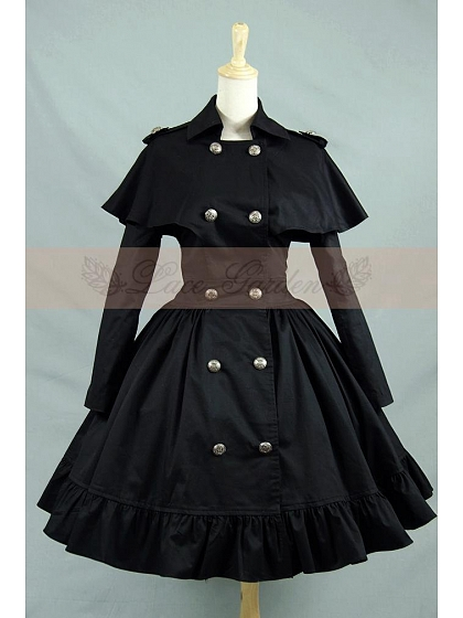 Vintage Gothic Lolita Shawl Double Breasted Trench Coat