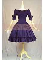 Vintage Retro Puff Shoulder Flounce Hemline Dress by Lace Garden