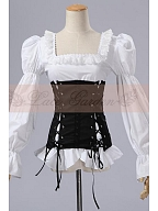 Custom Size Available Lolita Steampunk Blouse with Non-detachable Girdle by Lace Garden