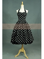 Victorian Lolita Black&White Dot Ball Gown Halter Dress Cosplay Costume by Lace Garden