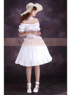 High Quality Flounce Decorated Off The Shoulder Short Sleeves Dress by Lace Garden