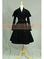 Gothic Lace Woolen Cloak Empire Waist Trench Coat Dress by Lace Garden