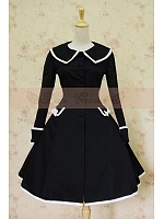 Retro Lolita Black Lace-Up Wool Overcoat with  White Edge by Lace Garden