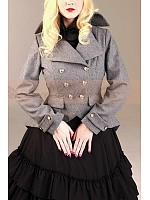 Premium Grey Woolen Swallow-Tail  Jacket and Multi-Layer Flounce Decorated  Dress  by Lace Garden