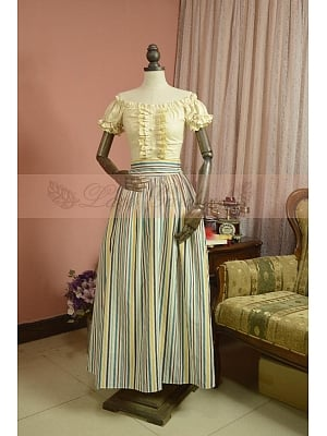 Vintage Multi-Colors Striped Dress by Lace Garden
