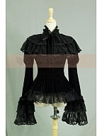 Custom Size Available High Quality Vintage Black Velveteen Royal Ruffle Jabot Blouse Top Shirt by Lace Garden