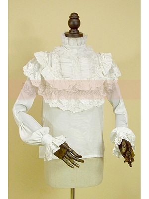 Custom Size Available Royal Long Sleeves Lace Applique Decorated Blouse by Lace Garden