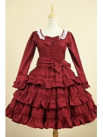 Lolita  Wine Red Flounce Decorated Dress Cosplay Theaterical Costume by Lace Garden