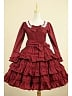 Wine Red Flounce Decorated Dress Cosplay Theaterical Costume by Lace Garden