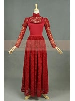 Classic Court Wine Red Lace Double-Layer Floor Length  Dress by Lace Garden
