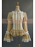 Custom Size Available Victorian Lolita Beige Cotton Lace Ruffled Collar Cape Sleeves Shirt by Lace Garden