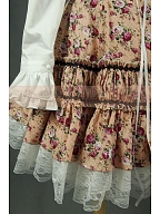 Fake Two-Pieces Floral Lace Up Empire Waist Dress by Lace Garden