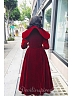 Custom Size Available Vintage Royal Velvet  Deep V-Neck Collar  Premium Coat by Lace Garden