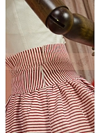 College Red Striped High Waist Skirt and Decorative Bow-Front Shirt by Lace Garden