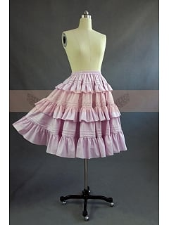 Victorian Lolita Tiered Flounce Hemline Decorated Big Swing Skirt by Lace Garden