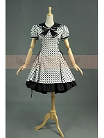 College Sailor Collar with Bow-Knot Black & White Dots Dress by Lace Garden