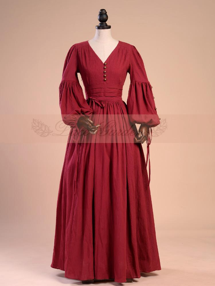 Medieval Lamp Sleeves V-neck Retro Wine Red Gown by Lace Garden