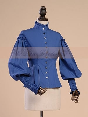 Bishop-sleeved Shirt with Ruffled High Collar by Lace Garden