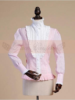 Sash Decoration Slim Waistline Pink Shirt by Lace Garden
