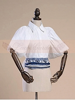 Royal Vintage Lamp Half Sleeves Short Blouse with Slim Hemline and Bowknot Decoration on the Back by Lace Garden