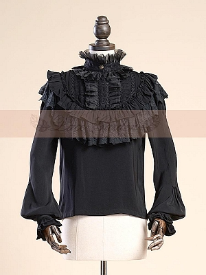 Aulic Stand Collar Puff Sleeves Blouse by Lace Garden