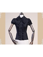 Short Sleeve One Breasted Blouse by Lace Garden