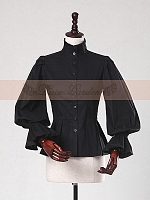Retro Stand Collar Puff Sleeve Blouse by Lace Garden