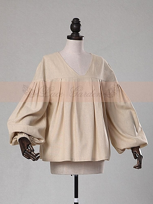 V-Neck Bell Sleeve Blouse by Lace Garden