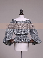 Two-Way Elastic Neckline Trumpet Sleeve Blouse by Lace Garden