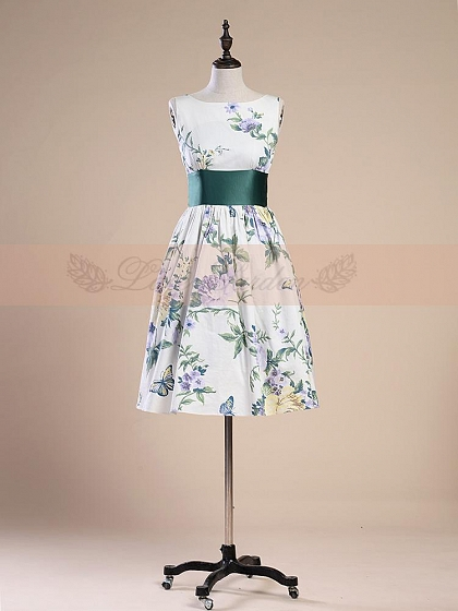 Sleeveless Wide Belt Flower and Butterfly Prints Dress by Lace Garden