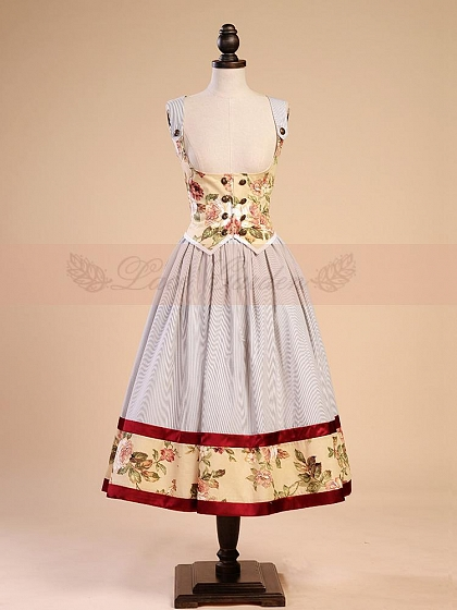 Patchwork Strap Top and Skirt Set by Lace Garden