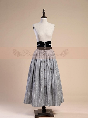 Retro Victorian Wide Waistband Buttons Skirt by Lace Garden