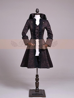 Fake 2-Pieces Brocade Ruffled Overcoat by Lace Garden