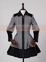 Striped Zipper Closure Woollen Coat by Lace Garden