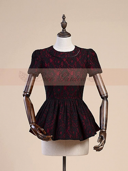 Openwork Lace Short Sleeves Blouse by Lace Garden