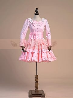 Sweet Pink OP with Layered-Flounce Trimmed Skirt by Lace Garden