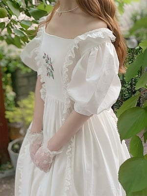 Square Neckline Embroidery Bodice Vintage Long Dress by Li