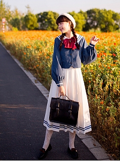 Sailor Collar JK Uniform Set Long Sleeves Top Pleated JSK by Li