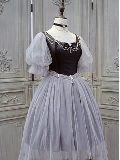 Vintage Bubble Sleeves Tulle Skirt OP - The Gray Swan by Lilian