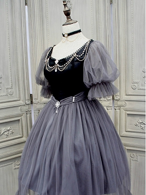 Vintage Bubble Sleeves Tulle Skirt OP Dark Grey - The Gray Swan by Lilian