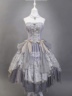 Glorious Moon Sea Lolita Strapless Hime Dress by Ling Xi
