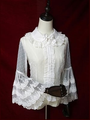 Lace Wide Sleeves Blouse by LuckyStar