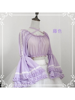 Chiffon Wide Sleeves Crossed Straps Blouse by LuckyStar
