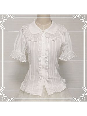Peter Pan Collar Lace Hemline Shirt by Luckystar