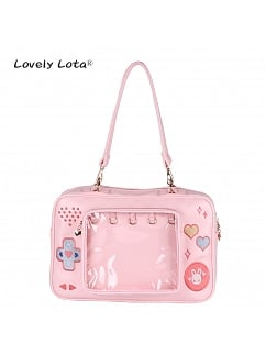 Game Machine Shaped Front See-through Pocket Shoulder Bag